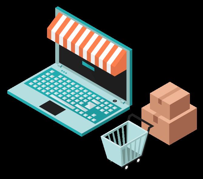 Desarrollamos sistemas de comercio electrónico para venta de productos físicos.